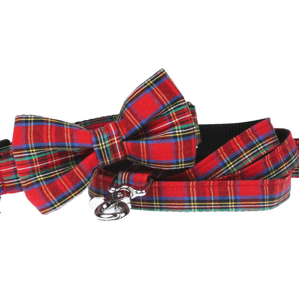 Dog Collar, Bow tie and Leash Set : Red Tartan - Dharf - 1
