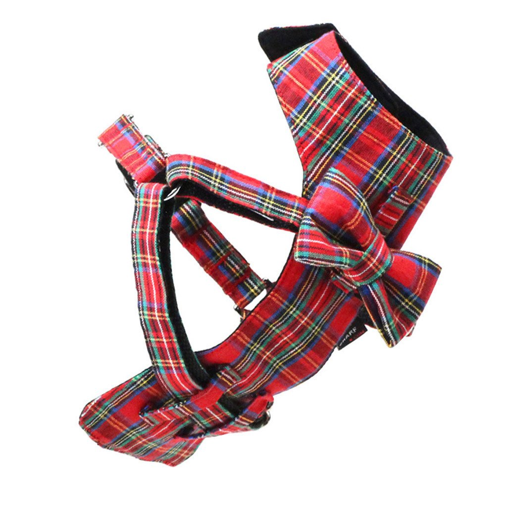 Cat Bow-tie Harness & Leash : Red Tartan - Dharf - 3
