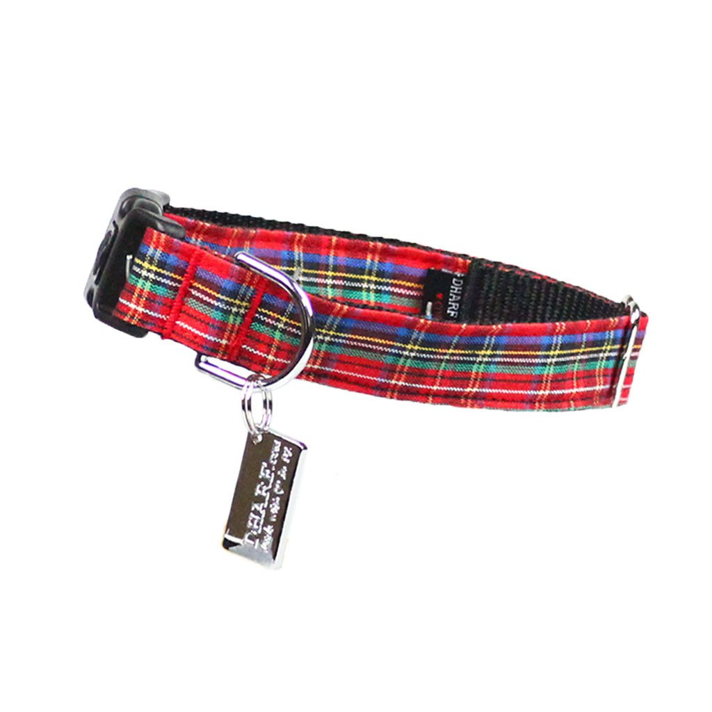 Dog Collar, Bow tie and Leash Set : Red Tartan - Dharf - 5