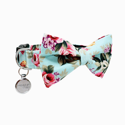 NEW Dog Bow Tie and Collar Set: Summer Blossom In Light Blue