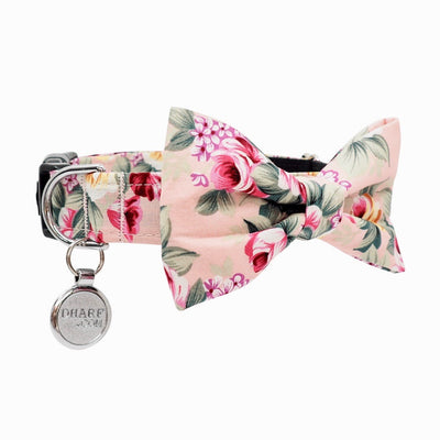 NEW Dog Bow Tie and Collar Set: Summer Blossom In Light Pink
