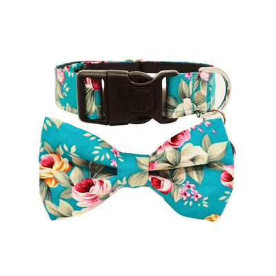 Dog Bow Tie and Collar Set: Summer Blossom In Turquoise