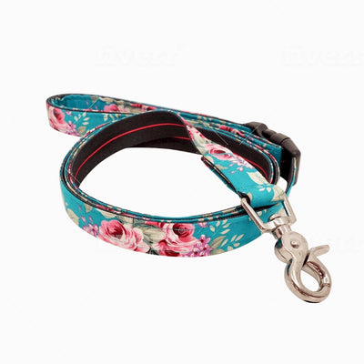 Dog Leash : SUMMER BLOSSOM IN TURQUOISE