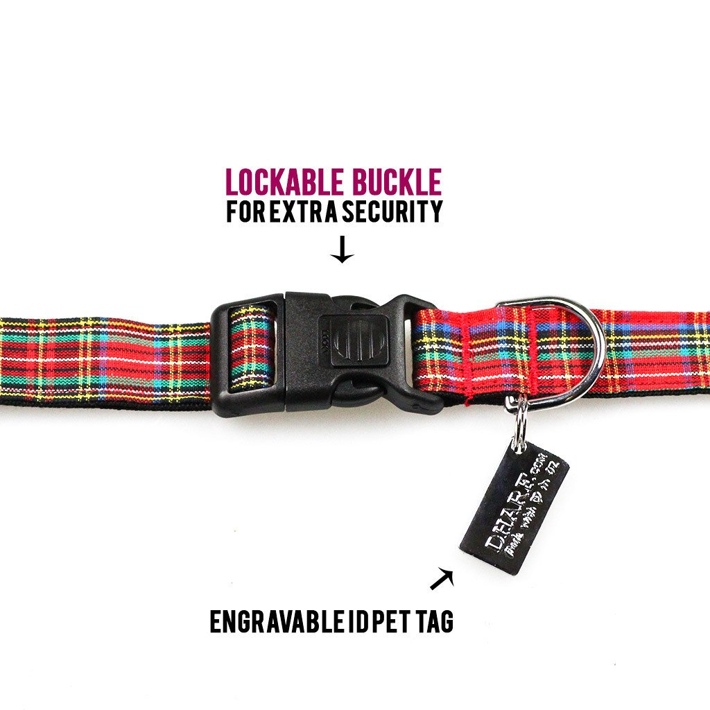 Dog Collar, Bow tie and Leash Set : Red Tartan - Dharf - 6