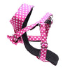 Dharf dog adjustable harness and removable bow tie in fuchsia polka dots