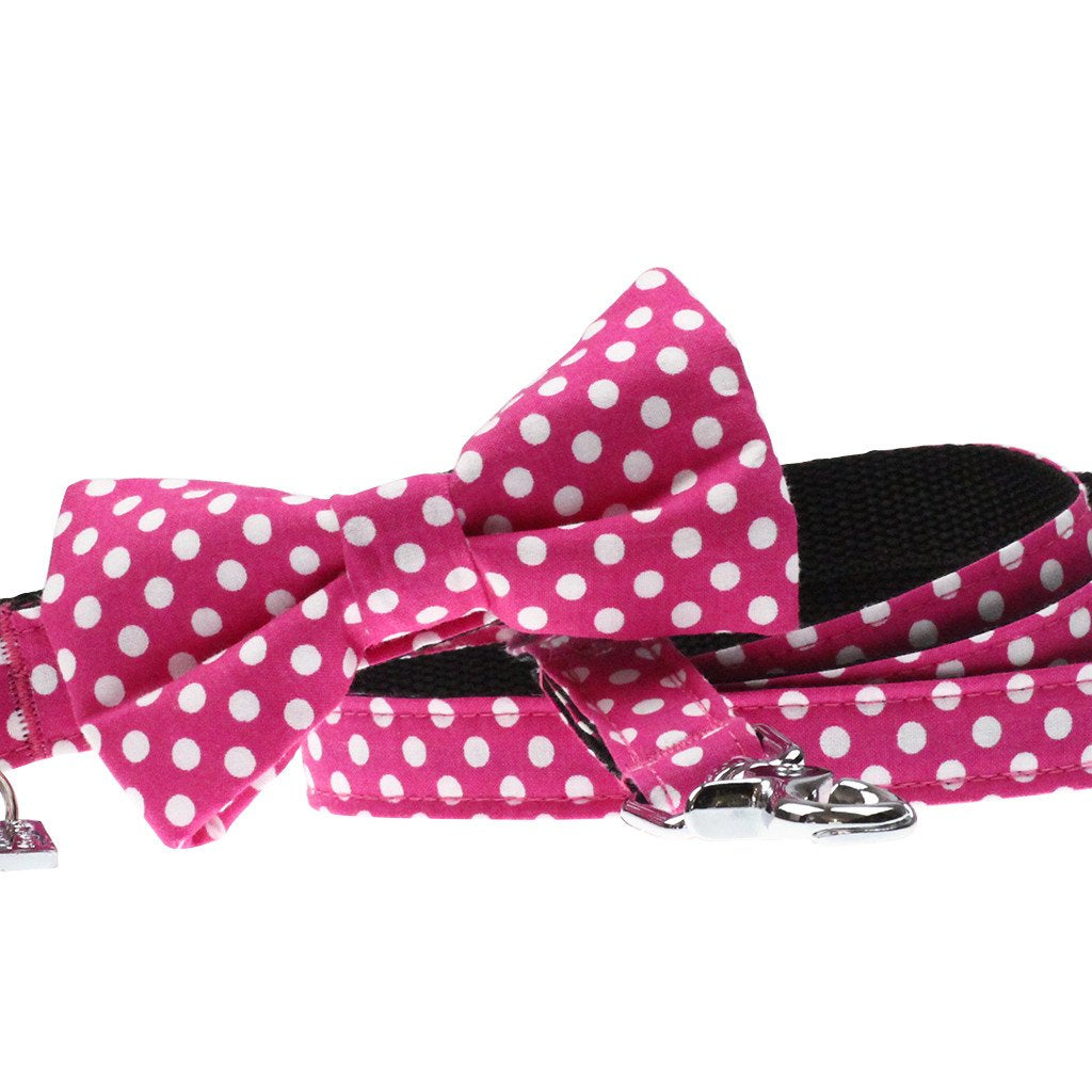 Dog Collar, Bow tie and Leash Set : Fuchsia Polka - Dharf - 1