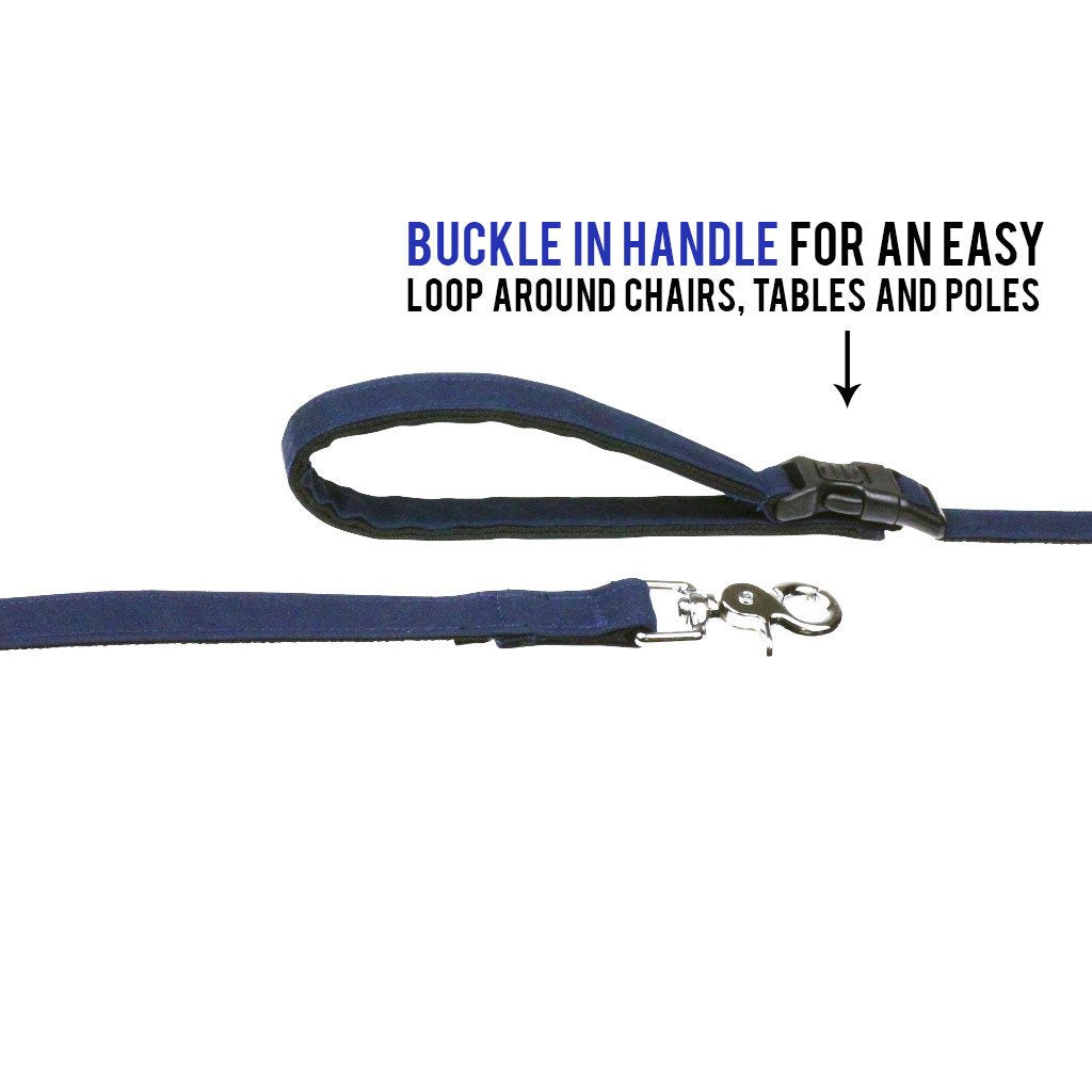 Dharf water repellent dog lead in navy blue with lockable buckle for looping around poles