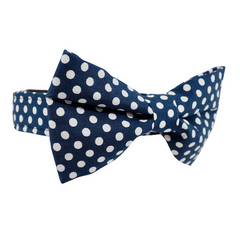 Dog Bow Tie and Collar Set : Navy Polka Dot