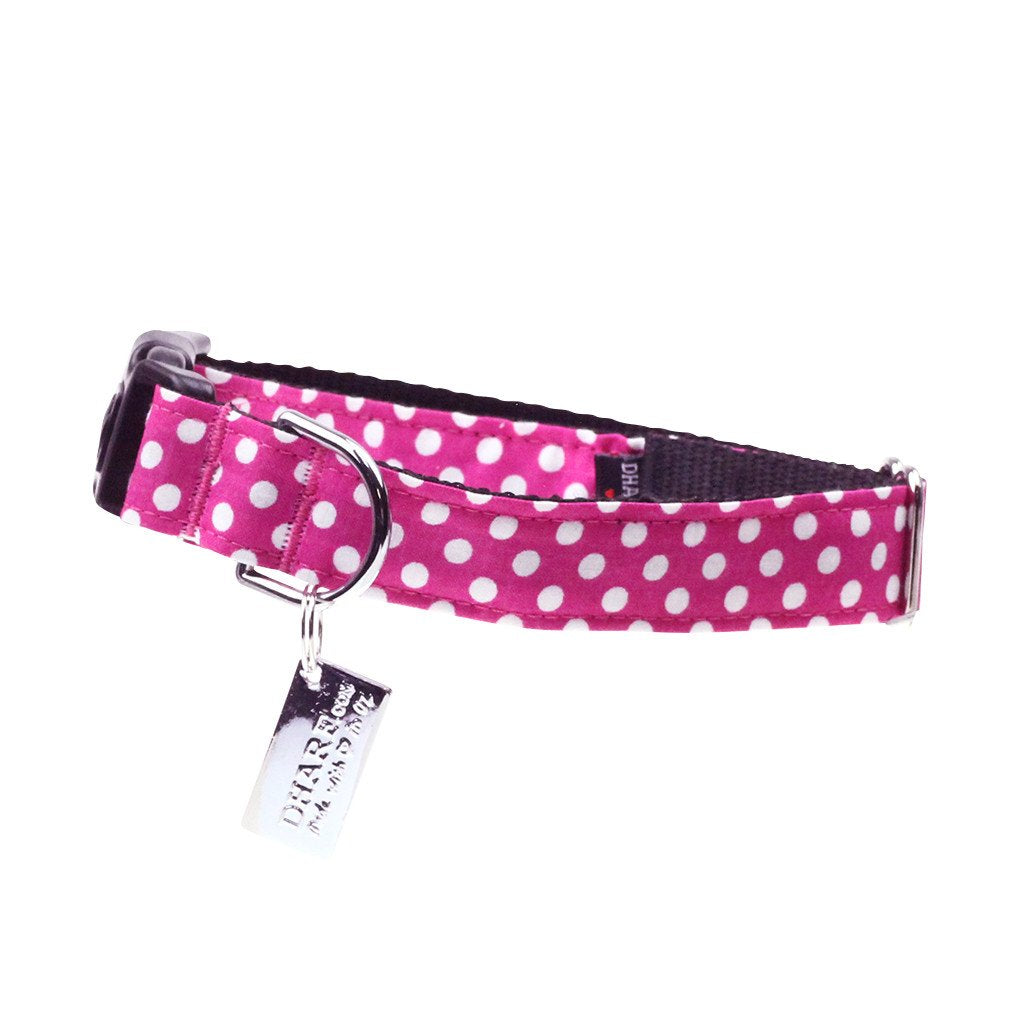 Dog Collar, Bow tie and Leash Set : Fuchsia Polka - Dharf - 5