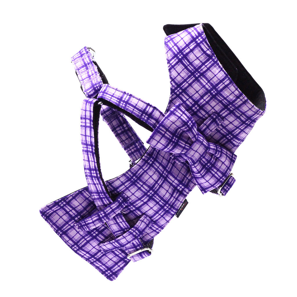 Dog Bow-tie Harness & Leash : Purple Criss-Cross - Dharf - 3