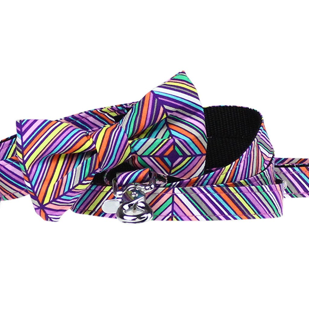 Dog Collar, Bow tie and Leash Set : Purple Rainbow - Dharf - 1