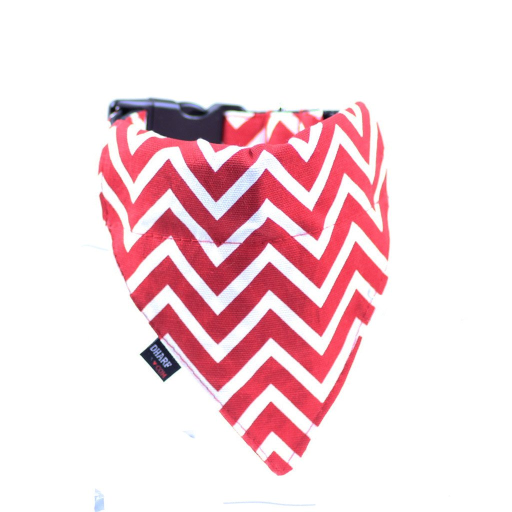 Dog Bandana and Collar : Red Chevron - Dharf - 1