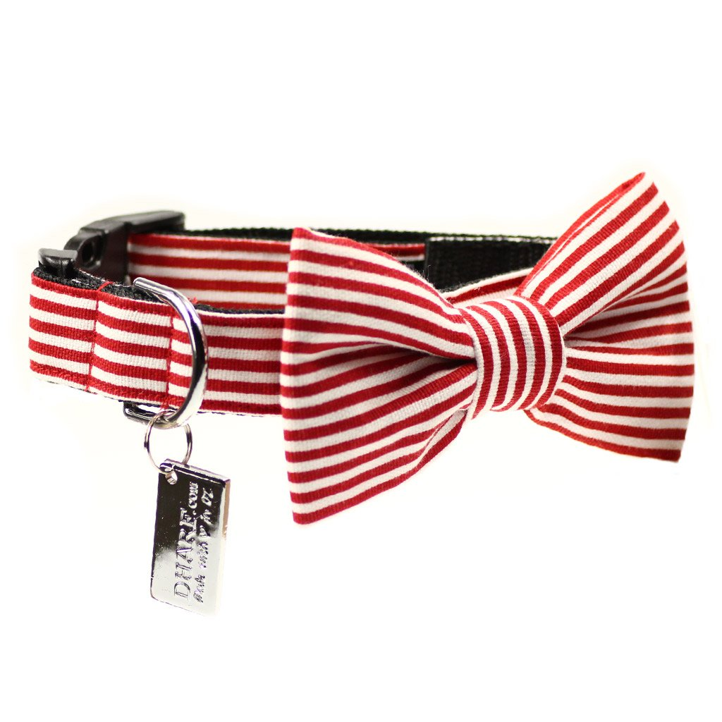 Dharf dog bow tie and matching collar in red and white stripes