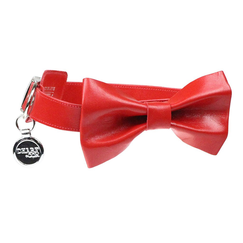 Leather Dog Collar, Bow tie and Leash Set: Red - Dharf - 5