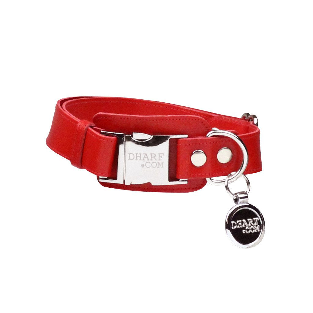 Leather Dog Collar: Red - Dharf - 1