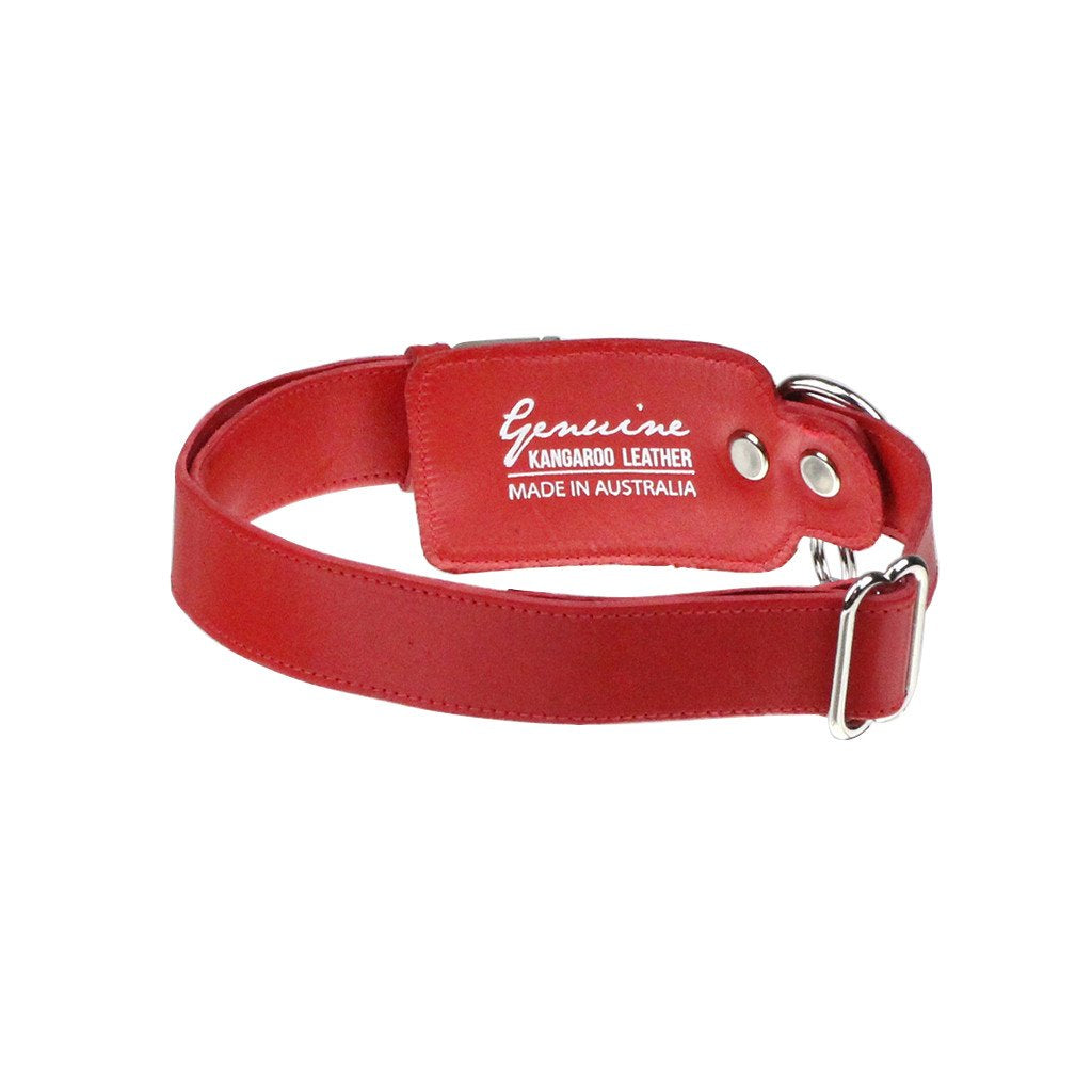 Leather Dog Collar: Red - Dharf - 3