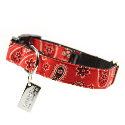 Dharf Dog Collar with adjustable length and lockable buckle in red paisley print