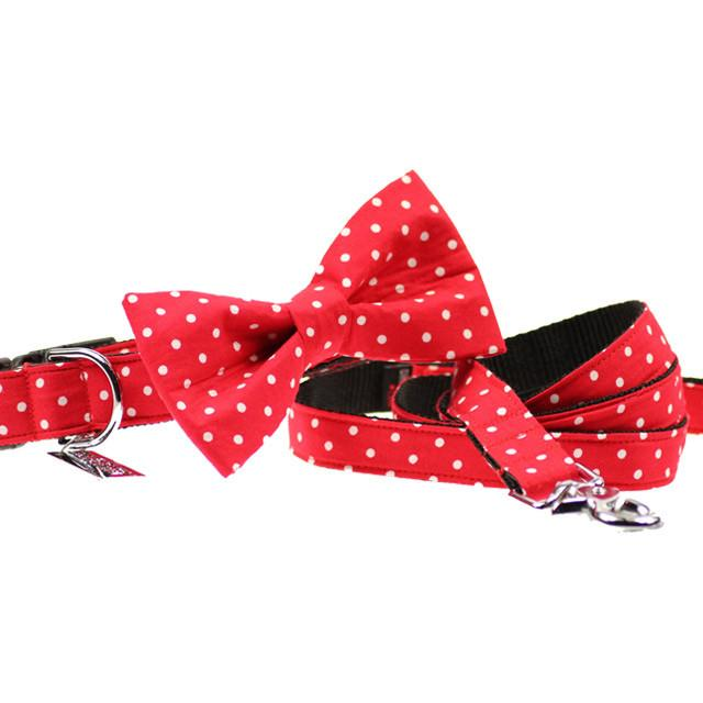 Dog Collar, Bow tie and Leash Set : Red Polka - Dharf - 1