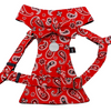 Dog Bow Tie Harness - Red Paisley