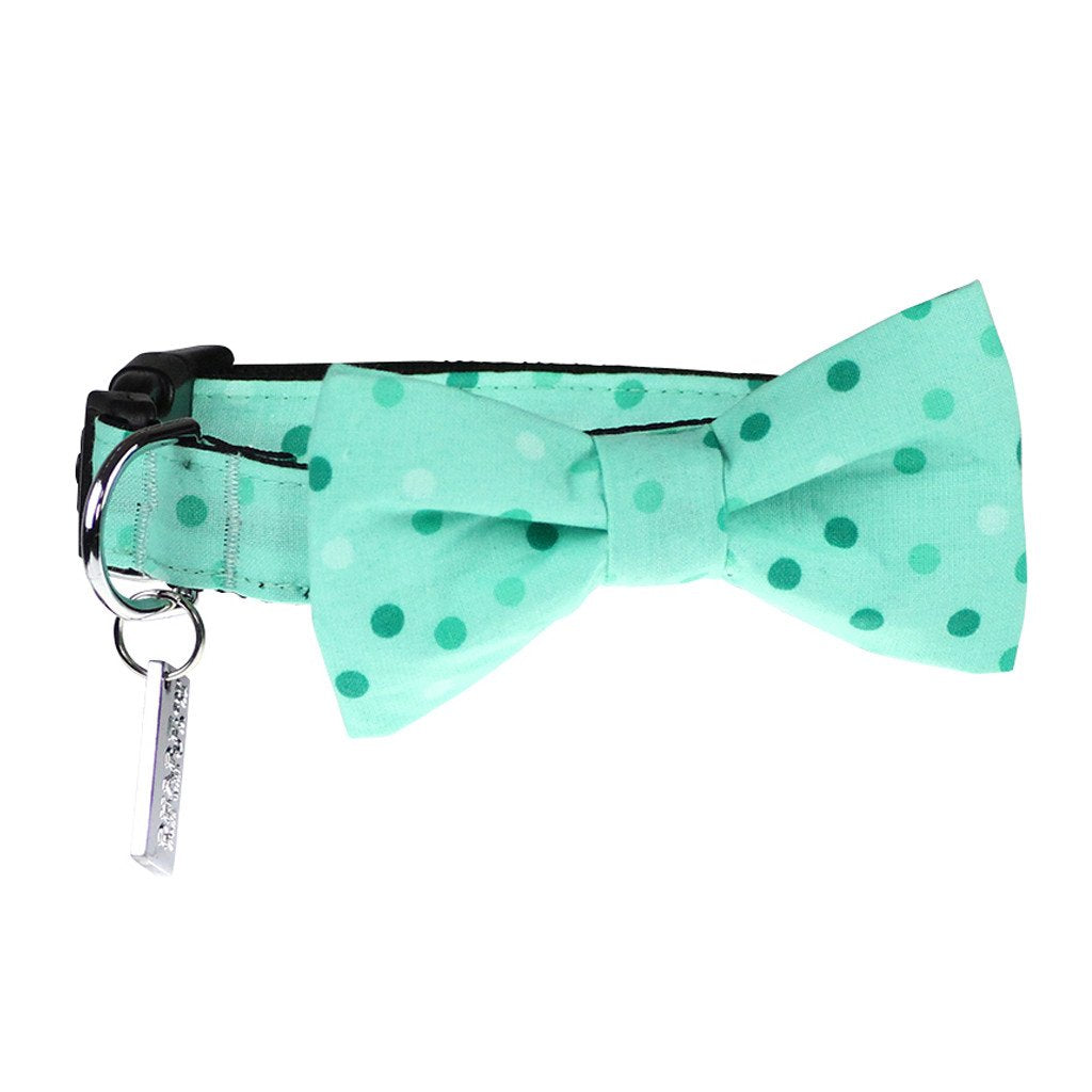 Dog Collar, Bow tie and Leash Set : Spotty Mint Green - Dharf - 3