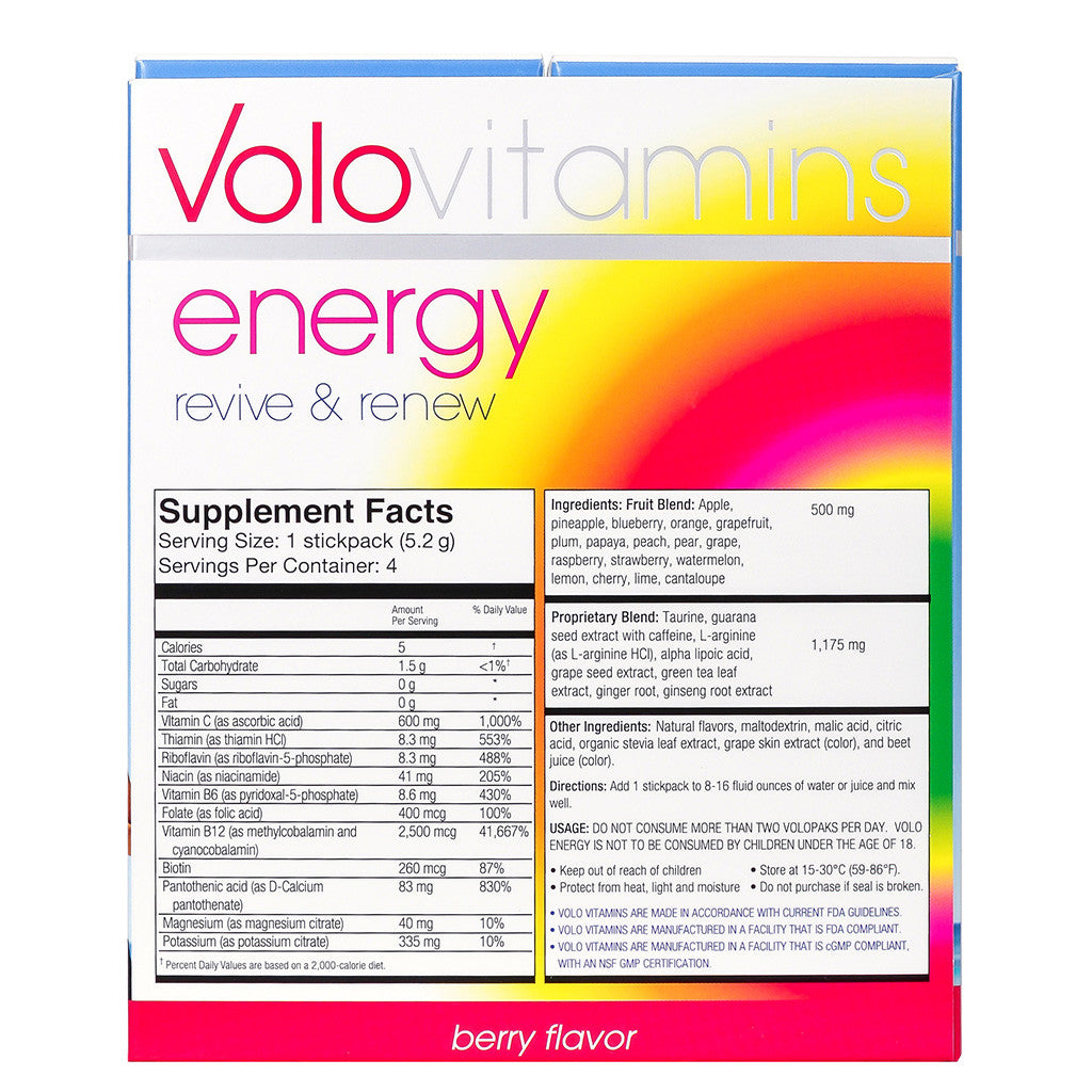 Volo Energy Stickpacks - Berry Flavor 4 Stick Packs - Case of 10