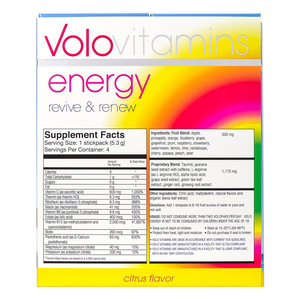 Volo Energy Stickpacks - Citrus Flavor 4 Stick Packs - Case of 10