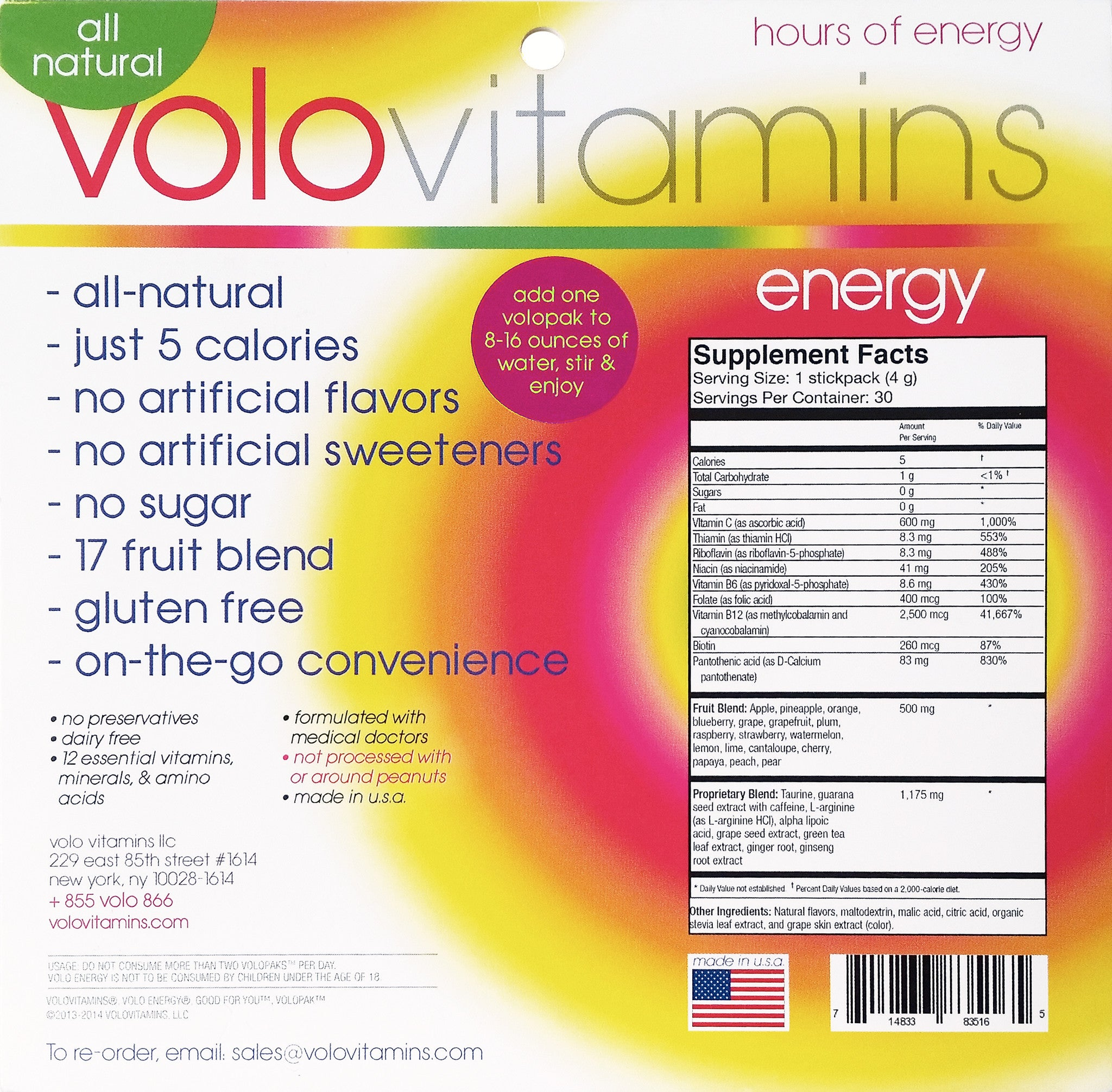 Volo Energy Stickpacks - Berry Burst & Citrus Sample Pack