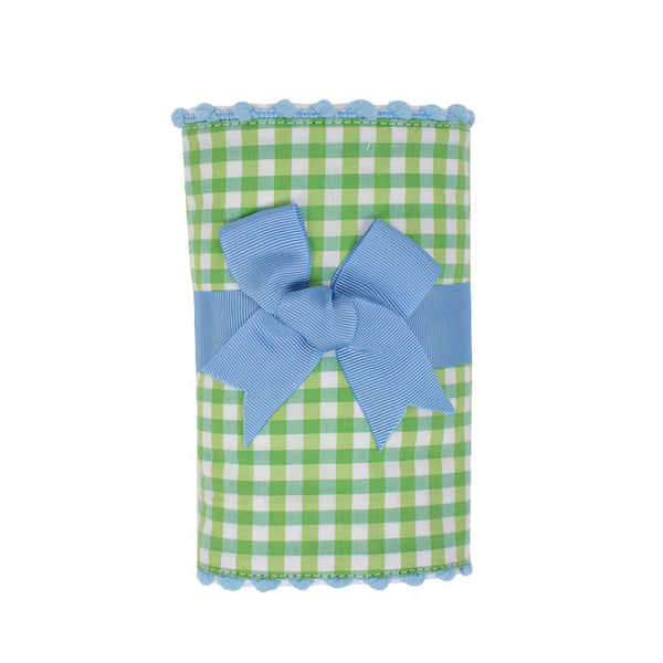 Blue Alligator Fancy Fabric Burp