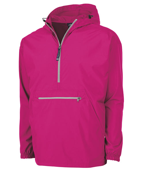 MONOGRAMMED 1/4 ZIP WIND BREAKER HOT PINK