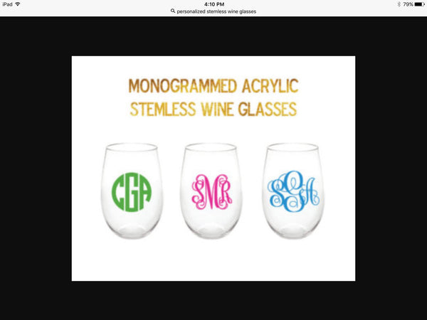 ACRYLIC MONOGRAMMED STEMLESS WINE GLASSES