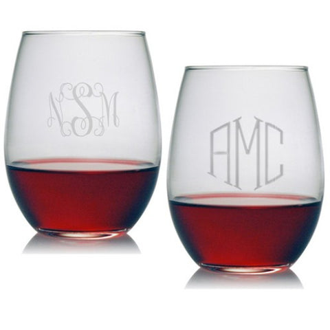 Stemless Wine Glasses - Monogrammed (Set of 4)