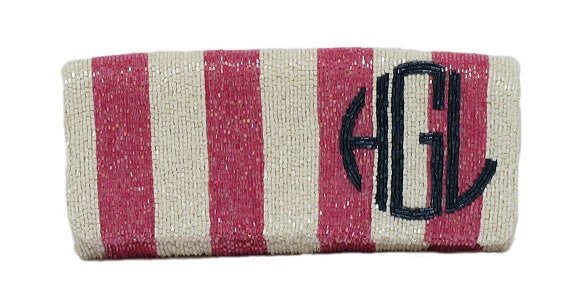 BEADED MONOGRAM FOLDOVER CLUTCH