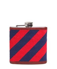 SMATHERS AND BRANSON NAVY/RED REPP STRIPE NEEDLEPOINT FLASK