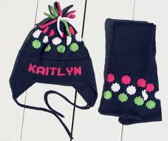 Personalized Hand Knit Dot Earflap Hat