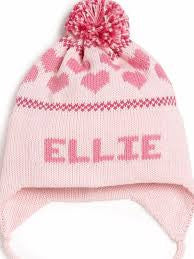 Personalized Hand Knit Heart Earflap Hat
