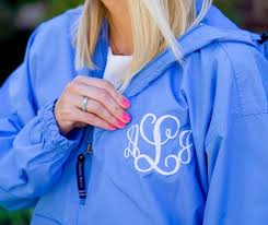 MONOGRAMMED 1/4 ZIP WIND BREAKER COLUMBIA BLUE