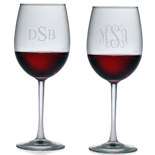 All Purpose Wine Glasses - Monogram (Set of 4)