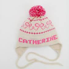 Personalized Hand Knit Bow Earflap Hat