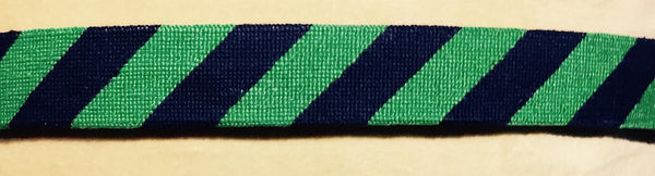 SMATHERS AND BRANSON GREEN/NAVY REPP STRIPE NEEDLEPOINT BELT