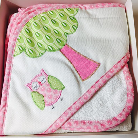 Hooded Towel and Wash Cloth Set Personalized-Owl Applique