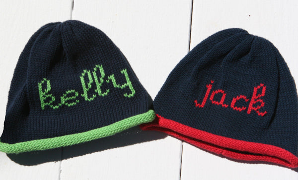 Personalized Hand Knit Scribble Roll Cap