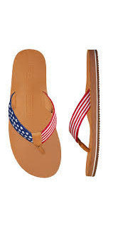 SMATHERS AND BRANSON  STARS AND STRIPES NEEDLEPOINT FLIP FLOPS