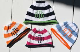 Personalized Stripe Knit Roll Cap