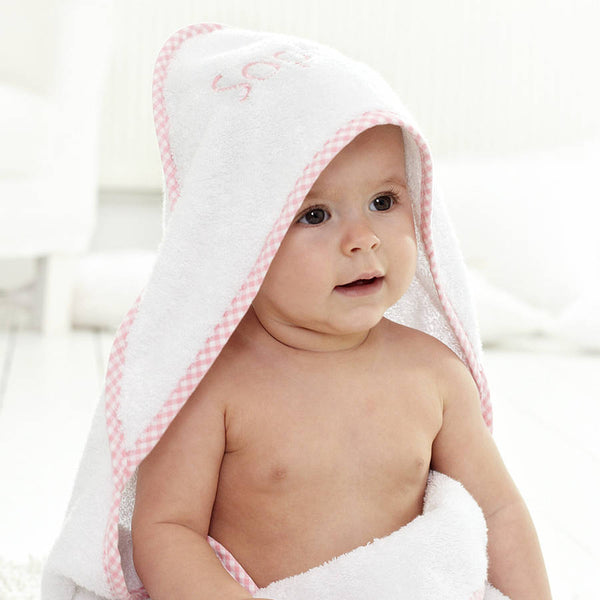 Check Pique Hooded Towel & Washcloth Set