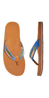 SMATHERS AND BRANSON TROUT NEEDLEPOINT FLIP FLOPS