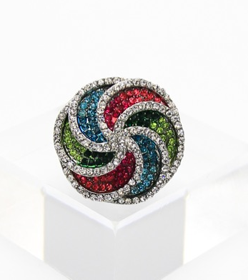 Crystal Swirl Cocktail Ring
