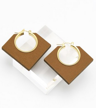 GEO Gold Plated Wooden Earrings