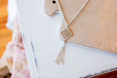 Quatrefoil Tassel Necklace