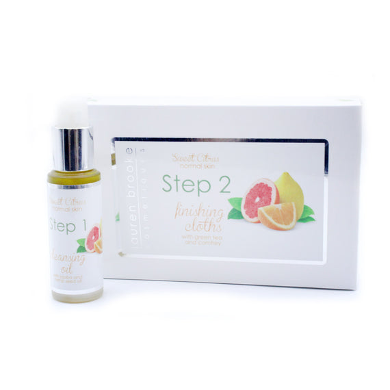 Lauren Brooke Cosmetiques Two Step Cleansing System - Revitalizing Vitamin C Samples - Cleansing System, Facial Serum, Finishing Cloths, Oil Cleanser, Organic Facial Serum, Organic Moisturizer