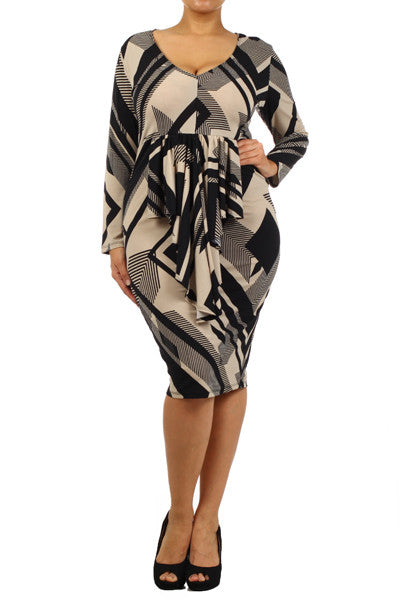 Beige geometric print knit dress with cascading ruffle